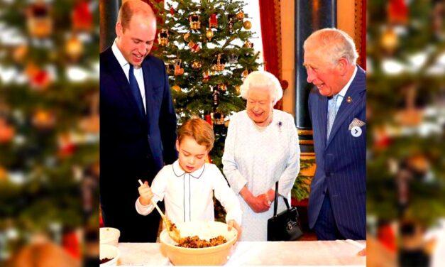 Ritka pillanat: II. Erzsébet a három trónörökössel karácsonyi pudingot készít
