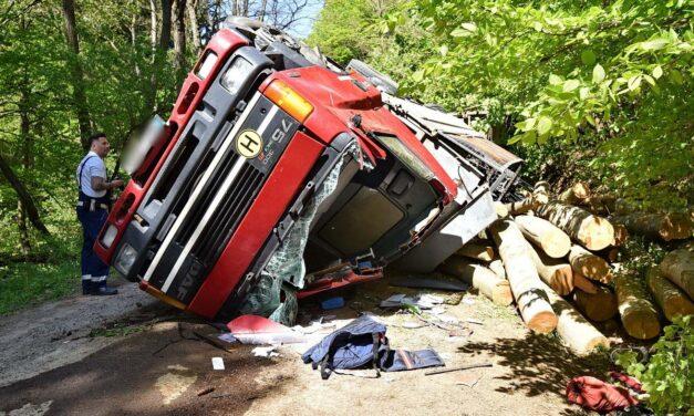 Farönkökkel megrakott teherautó borult fel egy erdőben, véletlenül találtak rá a súlyosan sérült sofőrre